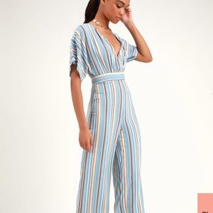 LULUs Brand new with tags striped jumpsuit